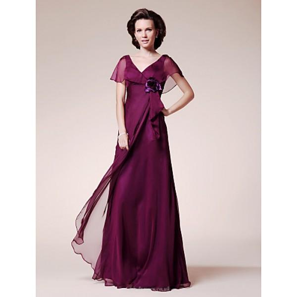 A-line Plus Sizes / Petite Mother of the Bride Dress - Grape Floor-length Short Sleeve Chiffon Mother Of The Bride Dresses