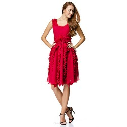 Cocktail Party Dress Burgundy A Line Scoop Knee Length Chiffon