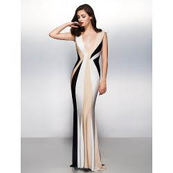 Formal Evening Dress Multi Color Trumpet Mermaid V Neck Sweep Brush Train Jersey