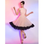 TS Couture Cocktail Party / Holiday Dress - Pearl Pink Plus Sizes / Petite A-line Bateau Knee-length Chiffon Special Occasion Dresses