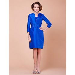 Sheath Column Plus Sizes Petite Mother Of The Bride Dress Royal Blue Knee Length 3 4 Length Sleeve Taffeta