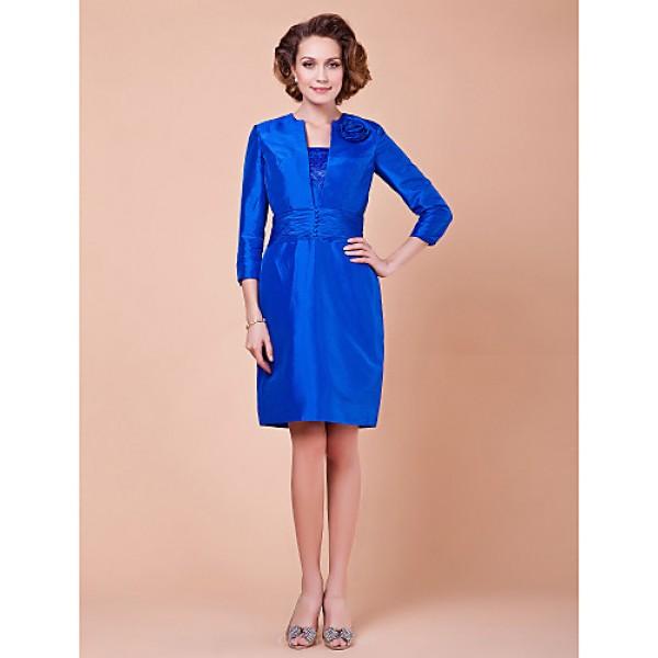 Sheath/Column Plus Sizes / Petite Mother of the Bride Dress - Royal Blue Knee-length 3/4 Length Sleeve Taffeta Mother Of The Bride Dresses