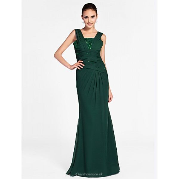 TS Couture Formal Evening / Military Ball Dress - Dark Green Plus Sizes / Petite Sheath/Column Square / Straps Floor-length Chiffon Special Occasion Dresses