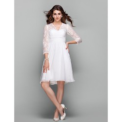 Cocktail Party Holiday Prom Dress Ivory Plus Sizes Petite A Line V Neck Knee Length Chiffon Lace