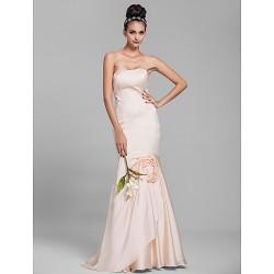 Floor-length Chiffon Bridesmaid Dress - Champagne Petite Trumpet/Mermaid Strapless