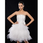 Cocktail Party / Homecoming / Prom / Holiday / Graduation Dress - Ivory Plus Sizes / Petite A-line Strapless Knee-length Satin / Tulle Special Occasion Dresses