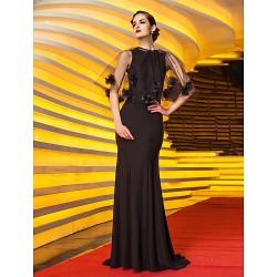 Formal Evening Military Ball Dress Black Plus Sizes Petite Trumpet Mermaid Jewel Sweep Brush Train Jersey