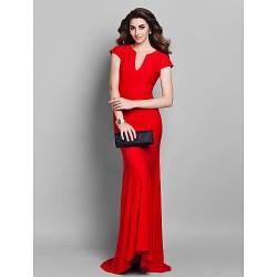 Formal Evening Dress Ruby Plus Sizes Petite Trumpet Mermaid V Neck Sweep Brush Train Jersey