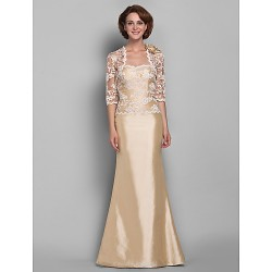 Trumpet/Mermaid Plus Sizes / Petite Mother of the Bride Dress - Champagne Floor-length Half Sleeve Lace / Taffeta