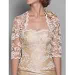 Trumpet/Mermaid Plus Sizes / Petite Mother of the Bride Dress - Champagne Floor-length Half Sleeve Lace / Taffeta Mother Of The Bride Dresses