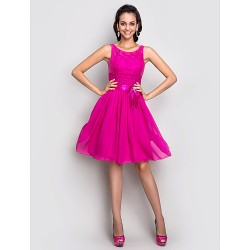Cocktail Party Holiday Dress Fuchsia Plus Sizes Petite A Line Scoop Knee Length Stretch Satin