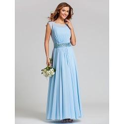 Ankle Length Chiffon Stretch Satin Bridesmaid Dress Sky Blue Plus Sizes Petite A Line Scoop