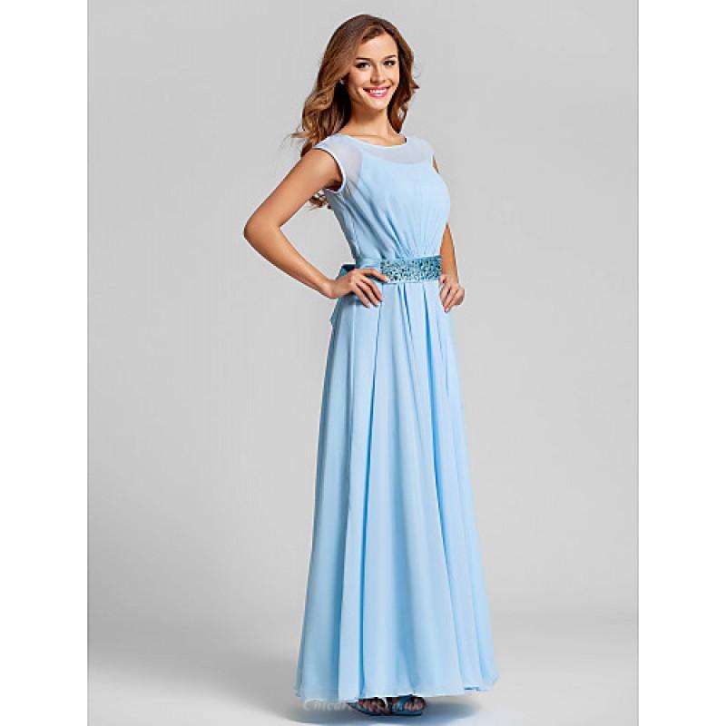Ankle Length Chiffon Stretch Satin Bridesmaid Dress