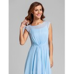 Ankle-length Chiffon / Stretch Satin Bridesmaid Dress - Sky Blue Plus Sizes / Petite A-line Scoop Special Occasion Dresses