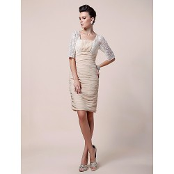 Sheath/Column Plus Sizes / Petite Mother of the Bride Dress - Champagne Knee-length Half Sleeve Chiffon / Lace