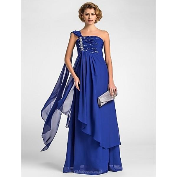A-line Plus Sizes / Petite Mother of the Bride Dress - Royal Blue Floor-length / Watteau Train Sleeveless Chiffon Mother Of The Bride Dresses