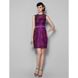 Knee-length Lace Bridesmaid Dress - Grape Plus Sizes / Petite Sheath/Column Jewel