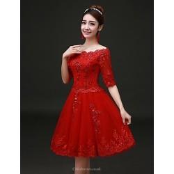 Cocktail Party Dress Ruby Plus Sizes A Line Bateau Knee Length Lace Satin