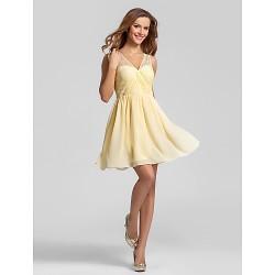 Short Mini Chiffon Bridesmaid Dress Daffodil Plus Sizes Petite A Line V Neck