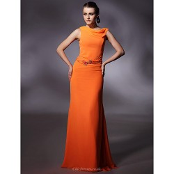 Prom / Military Ball / Formal Evening Dress - Orange Plus Sizes / Petite Sheath/Column Cowl Floor-length Chiffon