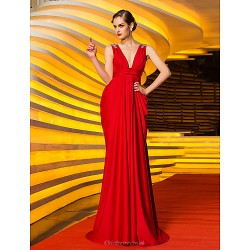 Formal Evening / Military Ball Dress - Ruby Plus Sizes / Petite Sheath/Column V-neck Sweep/Brush Train Jersey