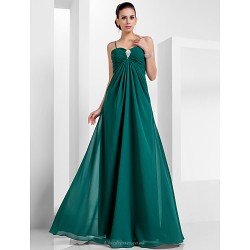 Formal Evening / Military Ball Dress - Dark Green Plus Sizes / Petite A-line / Princess Sweetheart / Spaghetti Straps Floor-length Chiffon