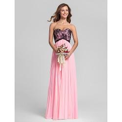 Floor Length Chiffon Lace Bridesmaid Dress Candy Pink Plus Sizes Petite Sheath Column Sweetheart