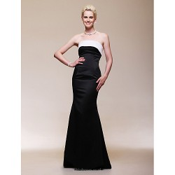 Formal Evening Dress Black Plus Sizes Petite Trumpet Mermaid Strapless Floor Length Satin