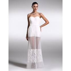 Formal Evening Dress - Ivory Plus Sizes / Petite Sheath/Column Sweetheart Floor-length Organza