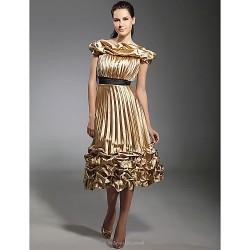 Cocktail Party Holiday Dress Gold Plus Sizes Petite A Line Princess Off The Shoulder Tea Length Stretch Satin