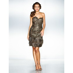 Cocktail Party / Holiday / Prom Dress - Brown Plus Sizes / Petite A-line / Princess Sweetheart Knee-length Sequined