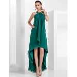 TS Couture Formal Evening Dress - Dark Green Plus Sizes / Petite A-line / Princess Halter Asymmetrical / Knee-length Chiffon Special Occasion Dresses