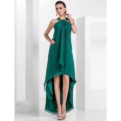 Formal Evening Dress - Dark Green Plus Sizes / Petite A-line / Princess Halter Asymmetrical / Knee-length Chiffon