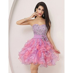 Cocktail Party Dress Lilac Plus Sizes Petite A Line Sweetheart Knee Length