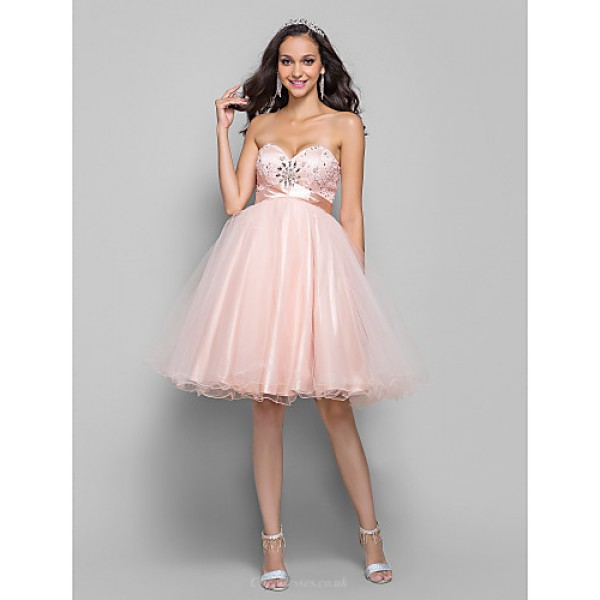 TS Couture Cocktail Party / Prom / Dress - Pearl Pink Plus Sizes / Petite A-line Sweetheart Knee-length Tulle Special Occasion Dresses