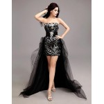 Cocktail Party Dress - Black Plus Sizes Sheath/Column Sweetheart Asymmetrical Tulle / Sequined Special Occasion Dresses