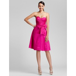 Knee Length Taffeta Bridesmaid Dress Fuchsia Plus Sizes Petite A Line Princess Sweetheart Strapless