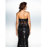 TS Couture Formal Evening Dress - Black Plus Sizes / Petite Trumpet/Mermaid Sweetheart Court Train Sequined Special Occasion Dresses