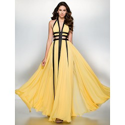 Formal Evening Dress Daffodil A Line V Neck Floor Length Chiffon
