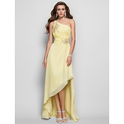 Prom / Formal Evening Dress - Daffodil Plus Sizes / Petite A-line / Princess One Shoulder Asymmetrical Chiffon
