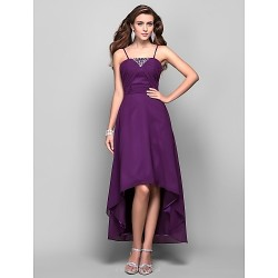 Formal Evening Prom Dress Grape Plus Sizes Petite A Line Princess Spaghetti Straps Asymmetrical Tea Length Chiffon