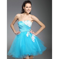 Cocktail Party Prom Homecoming Sweet 16 Holiday Dress Pool Plus Sizes Petite Ball Gown Strapless Short Mini Tulle