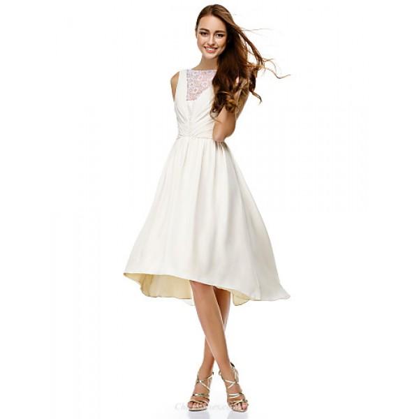 TS Couture Cocktail Party Dress - Ivory A-line Bateau Knee-length Chiffon Celebrity Dresses