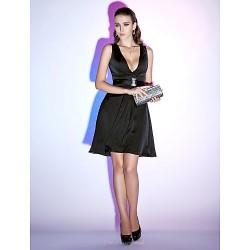 Cocktail Party Holiday Dress Black Plus Sizes Petite A Line Princess V Neck Short Mini Chiffon