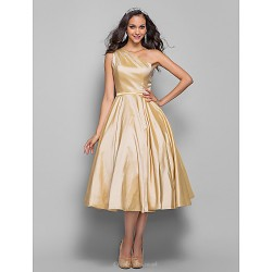 Prom / Homecoming / Cocktail Party Dress - Champagne Plus Sizes / Petite A-line / Princess One Shoulder Tea-length Taffeta