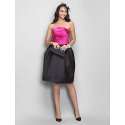 Dress Fuchsia Plus Sizes Petite A Line Princess Strapless Knee Length Satin