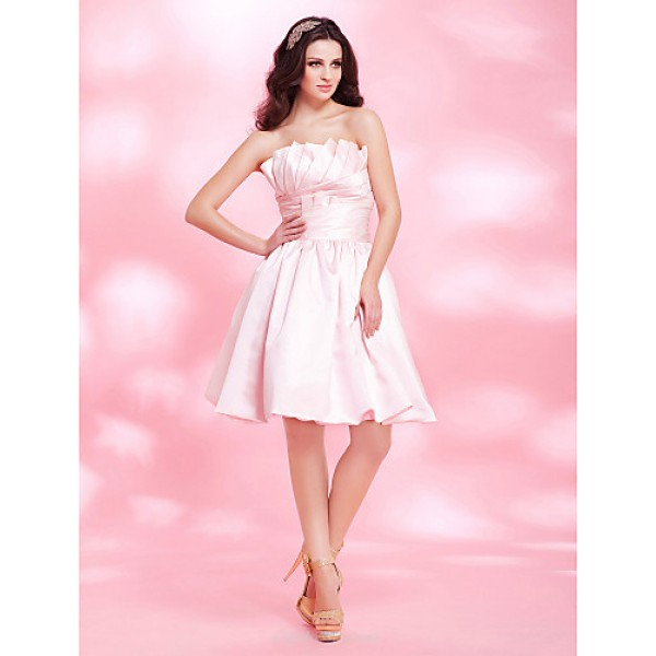 Cocktail Party / Sweet 16 Dress - Blushing Pink Plus Sizes / Petite A-line / Princess / Ball Gown Strapless Knee-length Satin Special Occasion Dresses