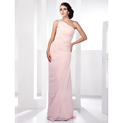 Prom / Military Ball / Formal Evening Dress - Pearl Pink Plus Sizes / Petite Sheath/Column One Shoulder Floor-length Chiffon