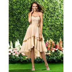 Asymmetrical / Knee-length Chiffon Bridesmaid Dress - Champagne Plus Sizes / Petite A-line / Princess Sweetheart / Strapless