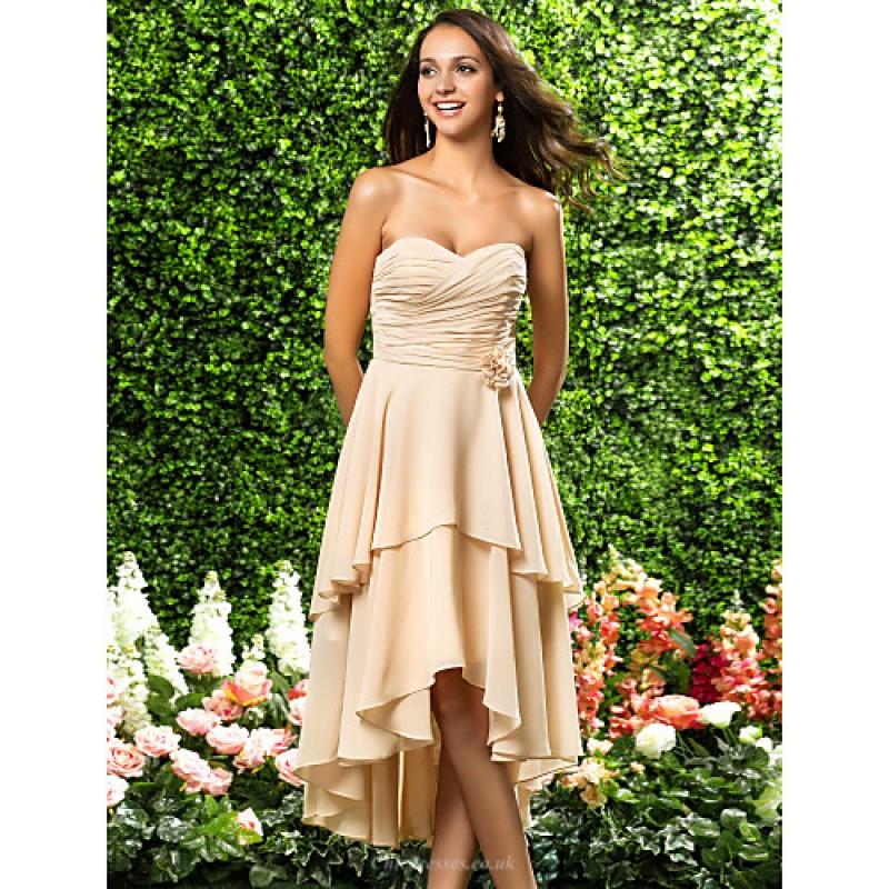 84c7218e22a3 ... Asymmetrical / Knee-length Chiffon Bridesmaid Dress - Champagne Plus  Sizes / Petite A- ...